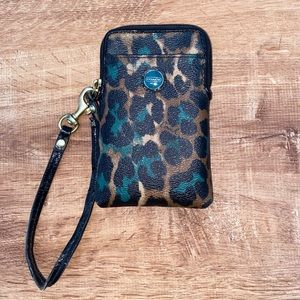 Coach Cheetah Leather Card Case with Zipper